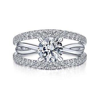 5/8ct tw Diamond Engagement Ring Setting in 14K White Gold