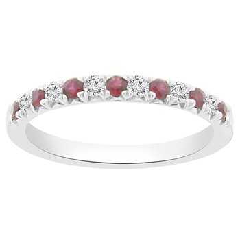 3/8ct tw Diamond & Ruby Stackable Ring in 18K White Gold