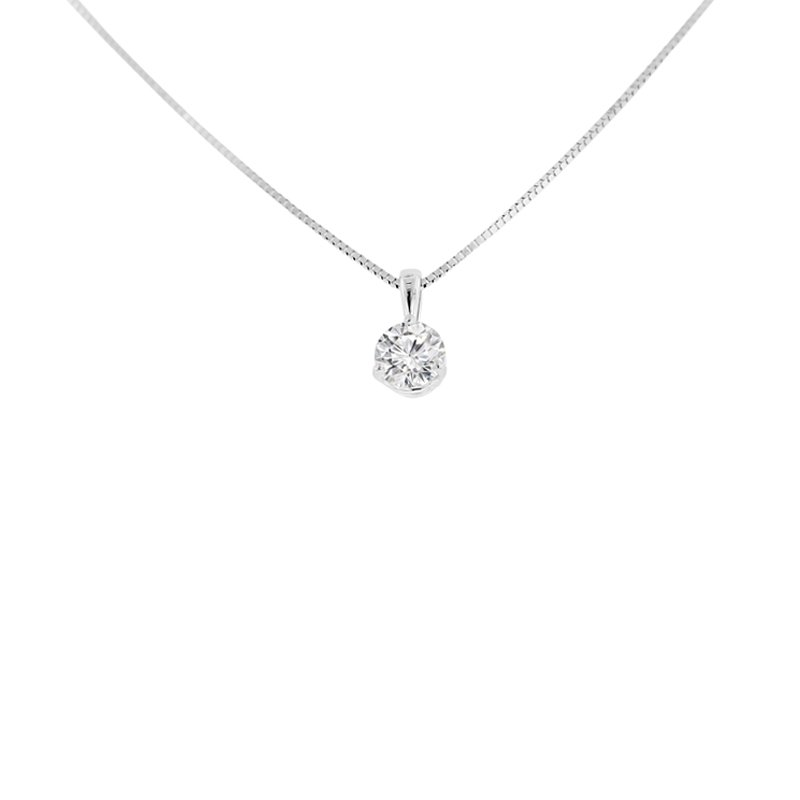 3/4ct tw Diamond Solitaire Necklace in 14K White Gold