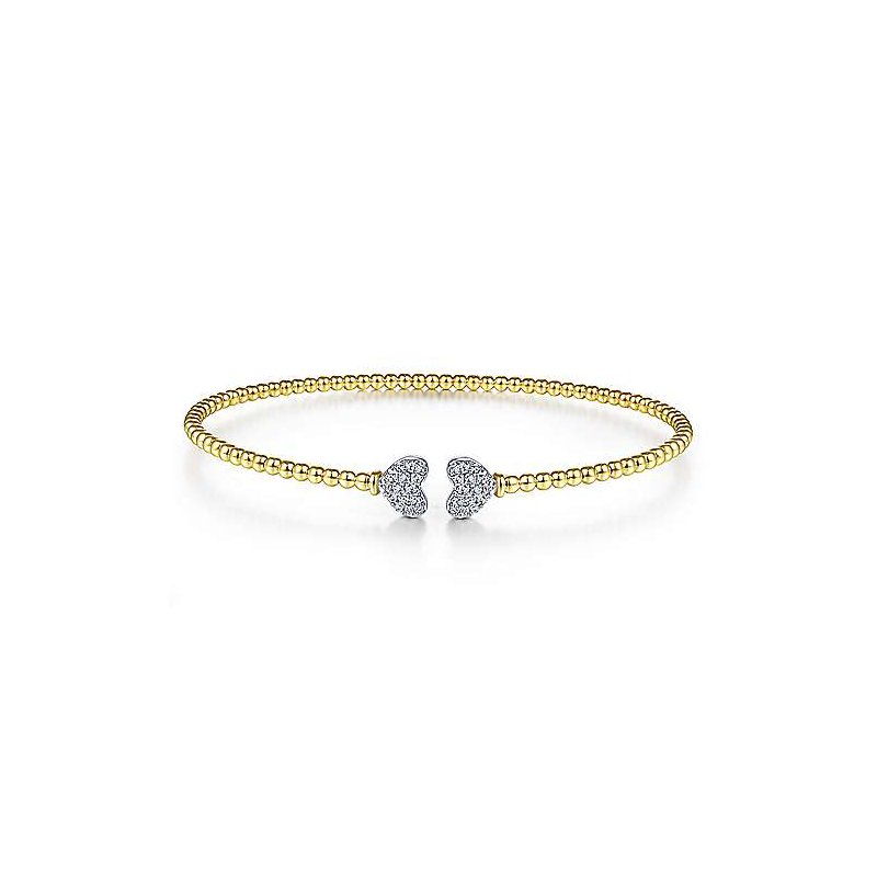 1/8ct tw Diamond Bujukan Bangle Bracelet in 14K White & Yellow Gold