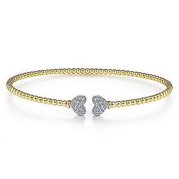 1/8ct tw Diamond Bujukan Bangle Bracelet in 14K White & Yellow Gold