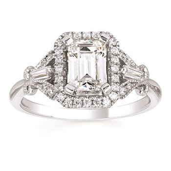 1/3ct tw Diamond Halo Engagement Ring Setting in 14K White Gold