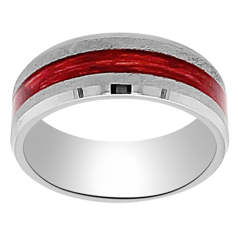 8mm Wedding Ring in Tungsten with Cabernet Barrel Inlay
