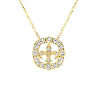 3/8ct tw NewBorn Lab Created Diamond Fleur De Lis Necklace in 14K Yellow Gold