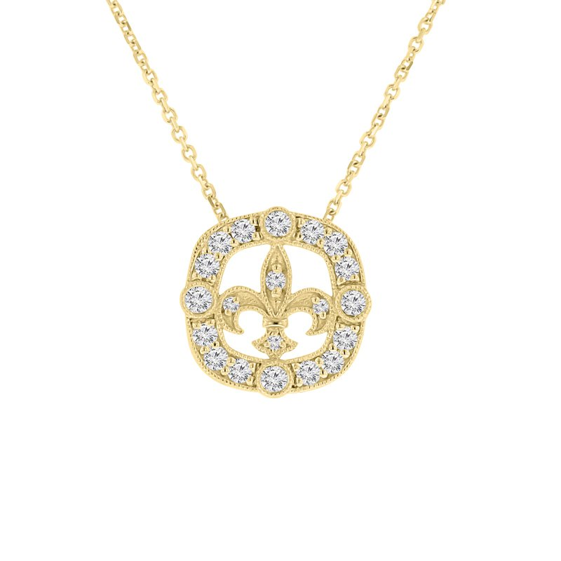 3/8ct tw NewBorn Lab Created Diamond Fleur De Lis Necklace in 14K Yellow Gold