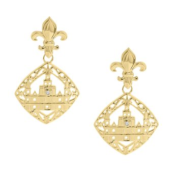 .01ct tw Diamond Nola Collection Cathedral & Fleur De Lis Earrings in 10K Yellow Gold
