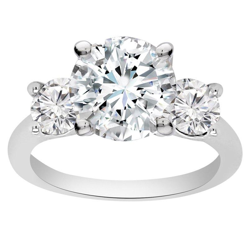 1ct tw NewBorn Lab Created Diamond Three Stone Engagement Ring Setting in 14K White Gold