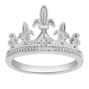 .01ct tw Diamond Mardi Gras Crown Ring in Sterling Silver