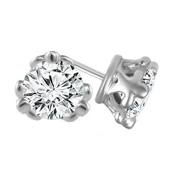 3/4ct tw Diamond Fleur De Lis Solitaire Stud Earrings in 14K White Gold