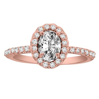 1ct tw Diamond Halo Engagement Ring in 14K Rose Gold