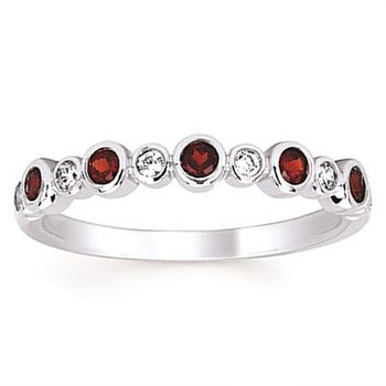 1/10ct tw Diamond & Garnet January Birthstone Ring in 14K White Gold