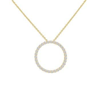 5/8ct tw NewBorn Lab Created Diamond Circle Necklace in 14K Yellow Gold