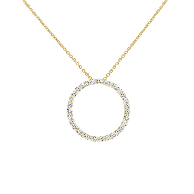 5/8ct tw NewBorn Lab Created Diamond Circle Necklace in 14K Yellow Gold