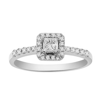 1/2ct tw Diamond Halo Engagment Ring in 18K White Gold