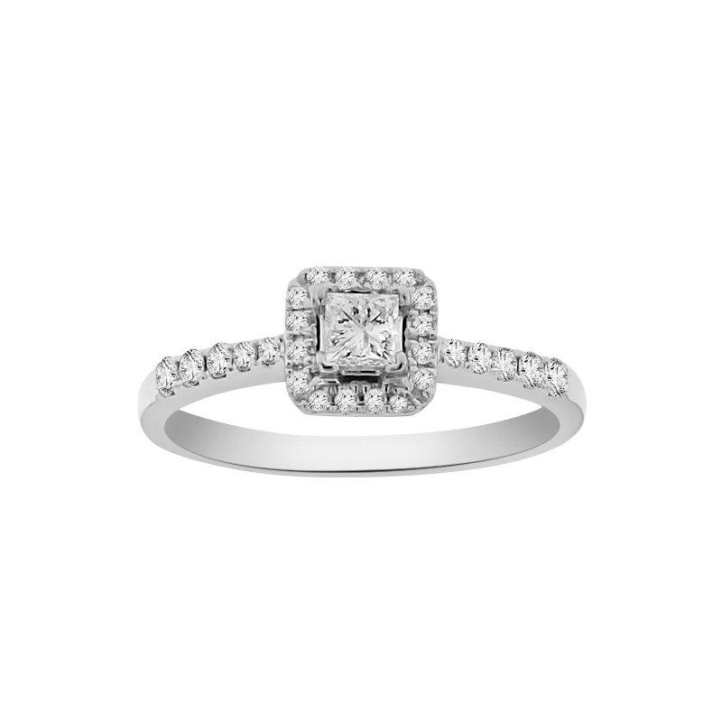 1/2ct tw Diamond Halo Engagment Ring in 18K White Gold