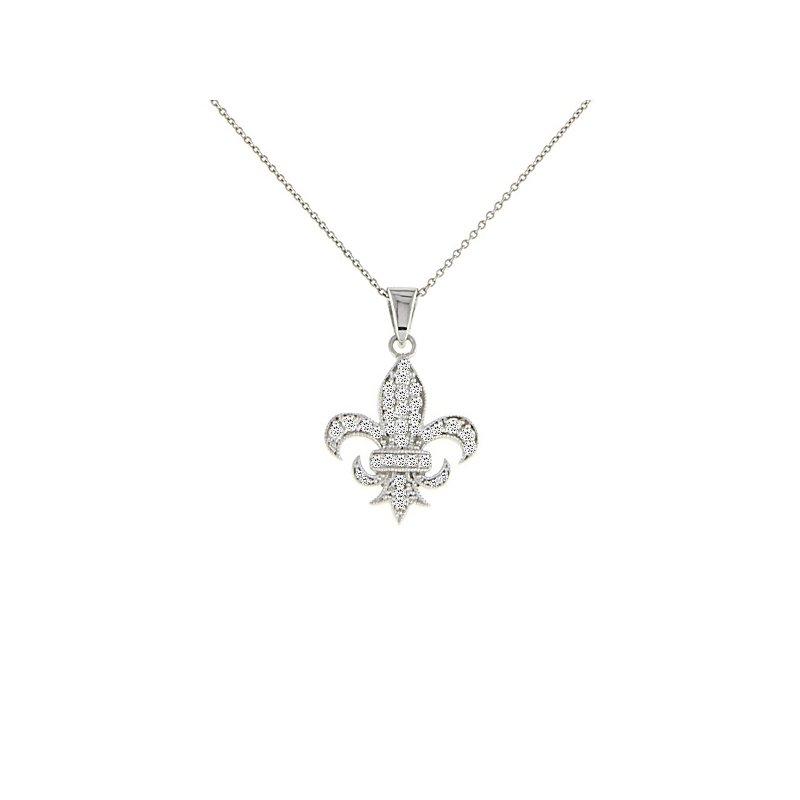 3/8ct tw Diamond Fleur de Lis Necklace in Sterling Silver