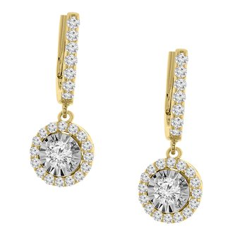 7/8ct tw Diamond Halo Dangle Earrings in 14K White & Yellow Gold