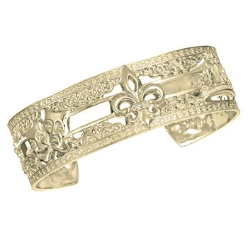 .02ct tw Diamond 7 Inch NOLA 20mm Cuff Bracelet in 10K Yellow Gold