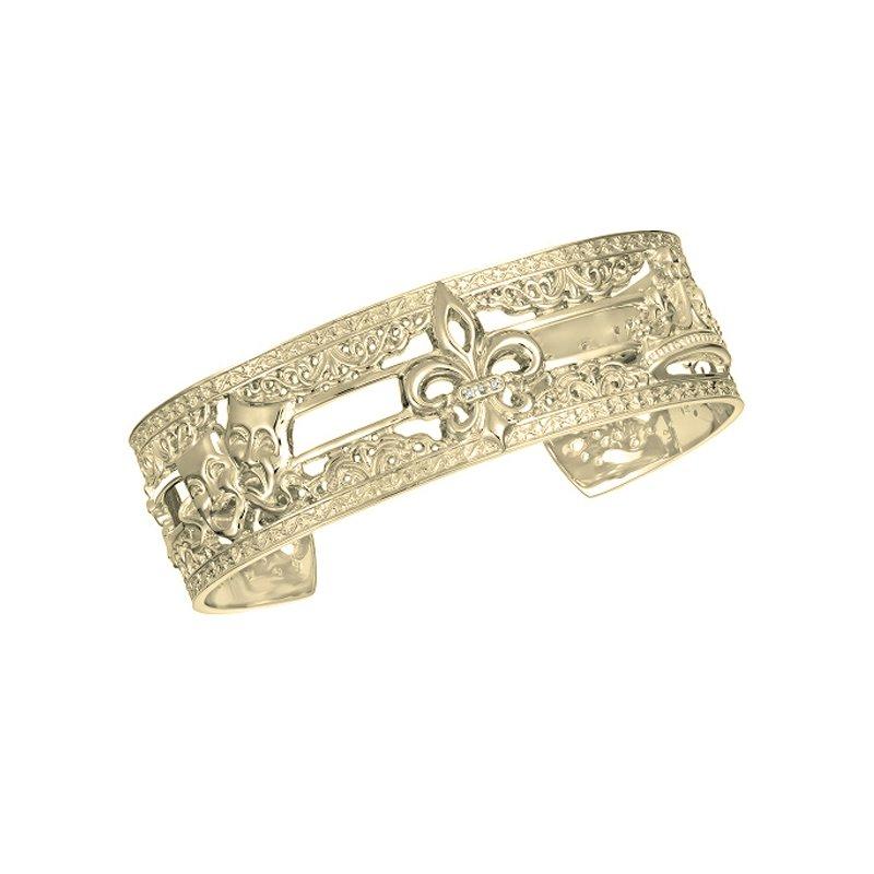 .02ct tw Diamond 7 Inch Mardi Gras Collection NOLA Cuff Bracelet in 10K Yellow Gold