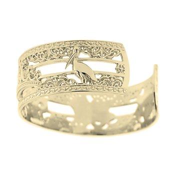 .02ct tw Diamond 7 Inch NOLA 20mm Cuff Bracelet in 10K Yellow Gold