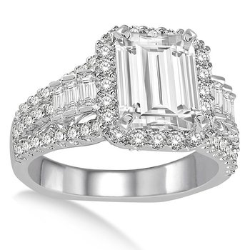 3 1/4ct tw NewBorn Lab Created Diamond Halo Engagement Ring in 14K White Gold