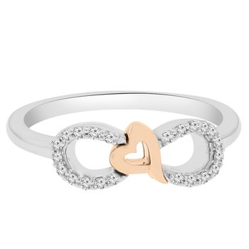 1/10ct tw Diamond Infinity Heart Ring in Sterling Silver & Rose Gold Plating