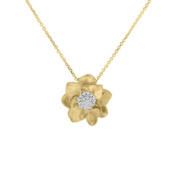 1/10ct tw Diamond Garden District Collection Magnolia Necklace in 14K Yellow Gold
