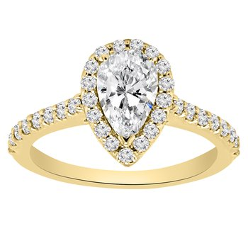 1ct tw NewBorn Lab Created Diamond Halo Engagement Ring in 14K Yellow Gold