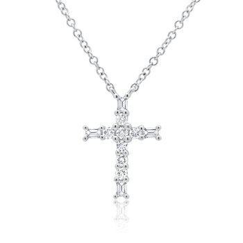 1/5ct tw Diamond Cross Necklace in 14K White Gold