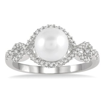 1/5ct tw Diamond & Cultured Pearl Ring in 10K White Gold