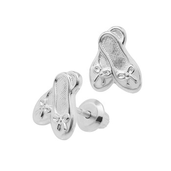 Ballet Slipper Stud Earrings in Sterling Silver