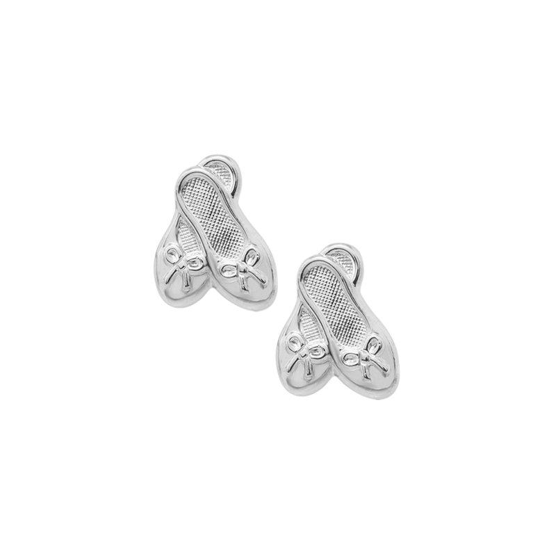 Ballet Slipper Stud Earrings in Sterling Silver