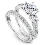 1/4ct tw Engraved Wedding Ring in 14K White Gold