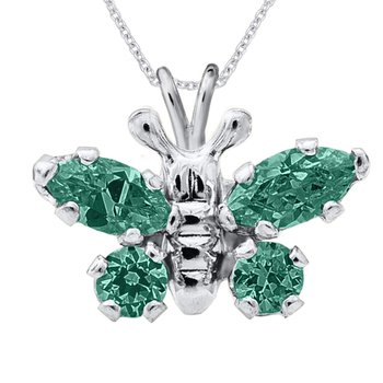 May Birthstone Butterfly Necklace in Sterling Silver