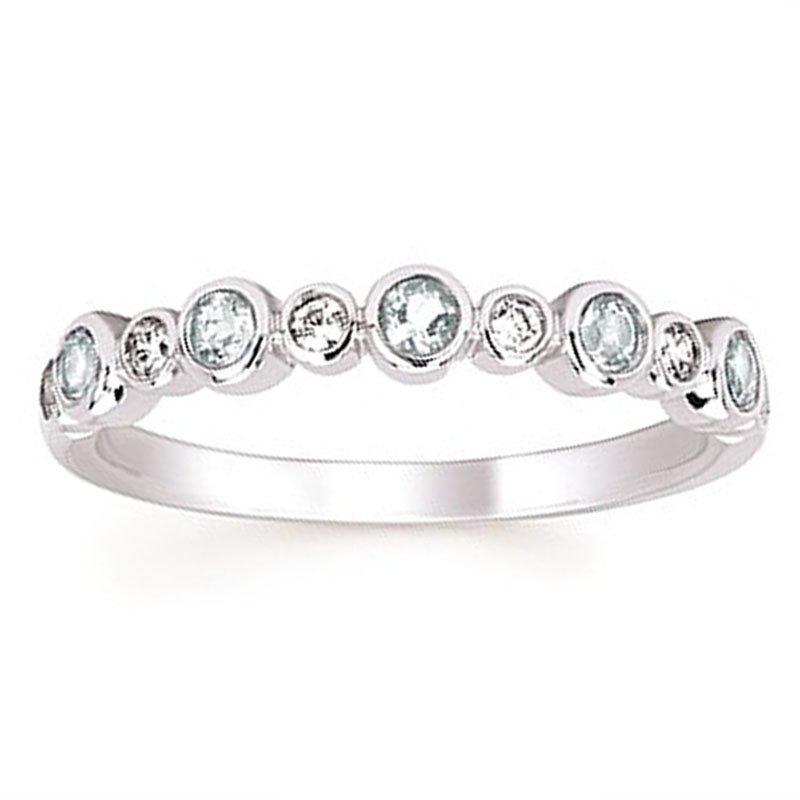 1/10ct tw Diamond & Aquamarine March Birthstone Ring in 14K White Gold