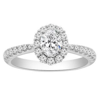 1ct tw NewBorn Created Diamond Halo Engagement Ring in 14K White Gold
