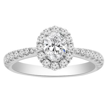 1ct tw NewBorn Created Diamond Halo Engagement Ring in 14K White Gold