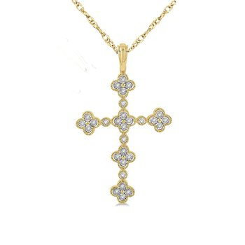1/8ct tw Diamond Cross Necklace in 10K White & Yellow Gold