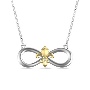 .01ct tw Diamond Fleur De Lis & Infinity Symbol Necklace in Sterling Silver & 10K Yellow Gold