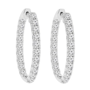 3ct tw NewBorn Lab Created Diamond Hoop Earrings in 14K White Gold