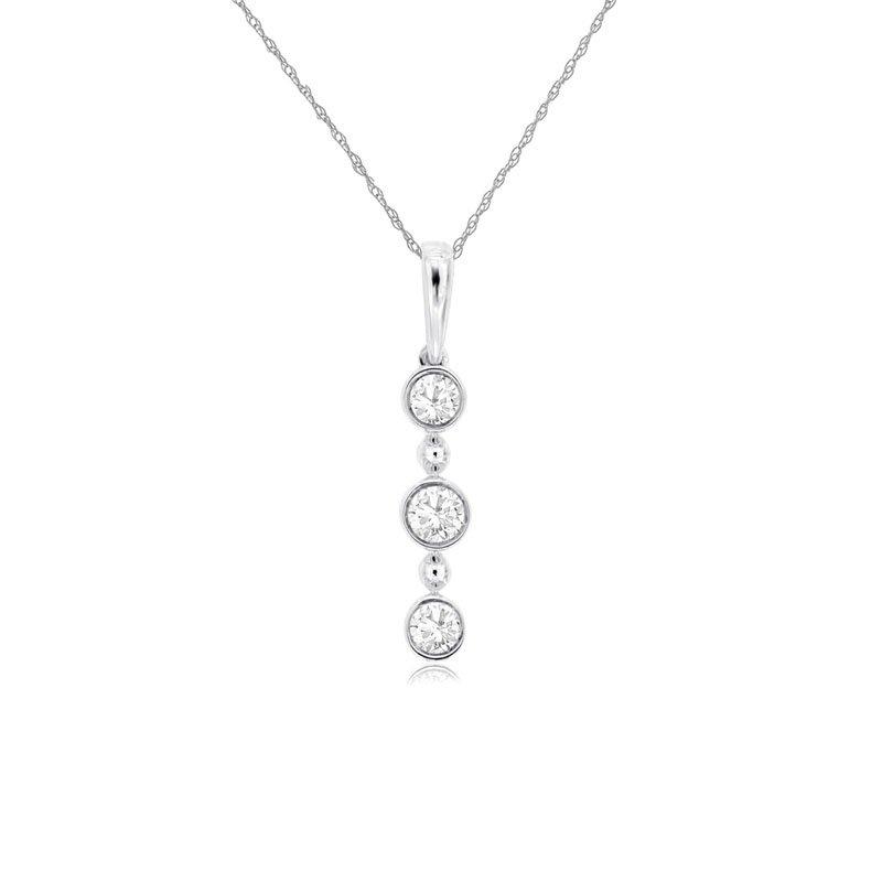 1/5ct tw Diamond Three Stone Bar Necklace in 14K White Gold
