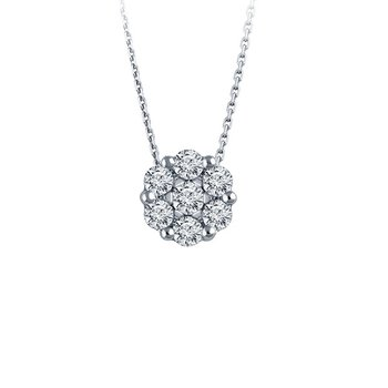 1/10ct tw Diamond Bouquet Necklace in 14K White Gold