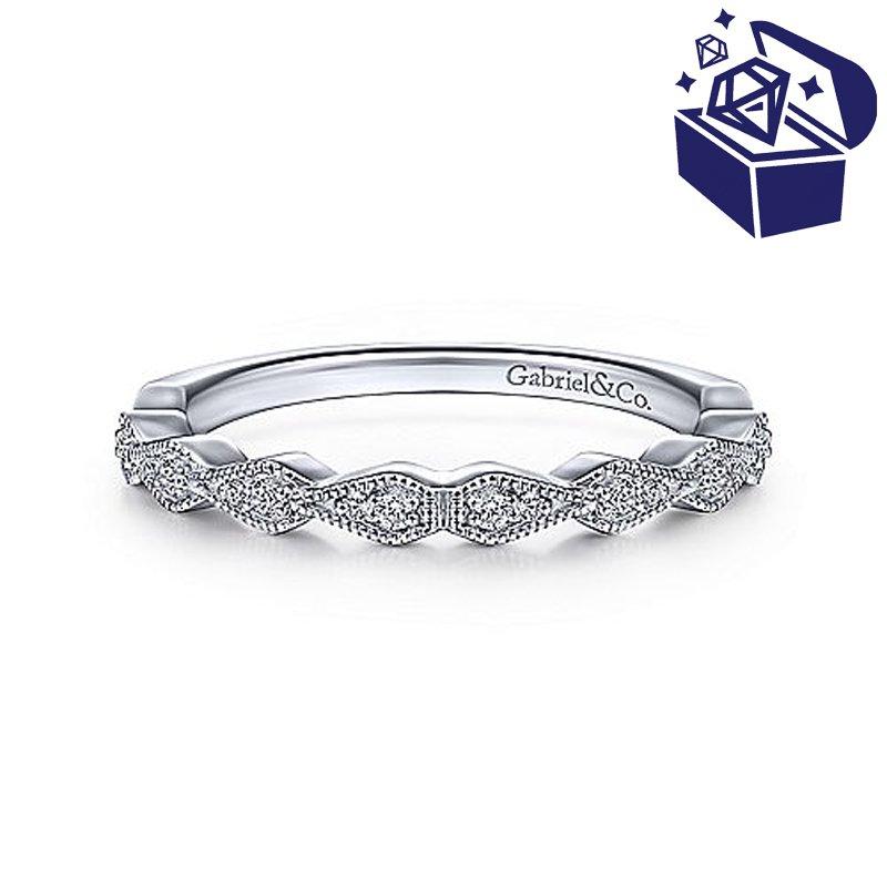 Treasure Hunt Value 1/10ct tw Diamond Wedding Ring in 14K White Gold