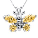 November Birthstone Butterfly Necklace in Sterling Silver