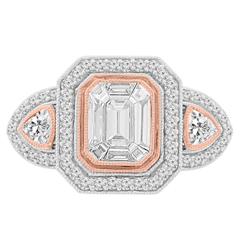 1 1/3ct tw Diamond Thousand Points of Light Engagement Ring in 18K White & Rose Gold
