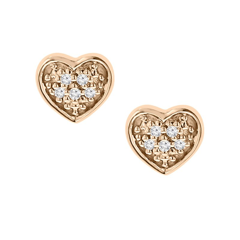 .03ct tw Diamond Heart Stud Earrings in 10K White & Rose Gold