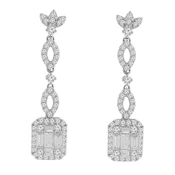 2ct tw Diamond Halo Fashion Earrings in 14K White Gold