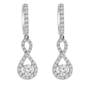 9/10ct tw Diamond Infinity Halo Earrings in 14K White Gold