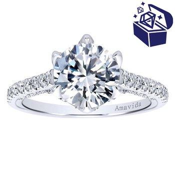 Treasure Hunt Value 5/8ct tw Diamond Heart of New Orleans Engagement Ring Setting in 18K White Gold