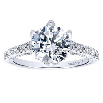 5/8ct tw Diamond Heart of New Orleans Engagement Ring Setting in 18K White Gold